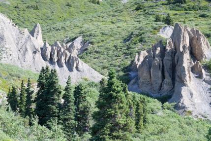 Sheep Creek Trail: Hoodoos are visible