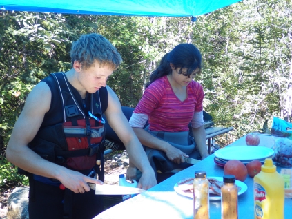 Rafting on the Tatshenshini: Our guides double as camp cooks
