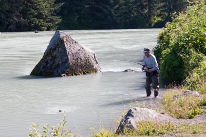 Salmon fishermen on Chilkoot Lake
