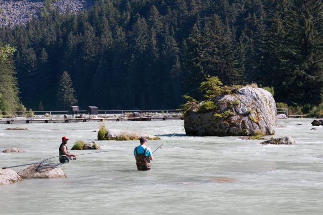 Salmon fishermen on the Chilkoot River