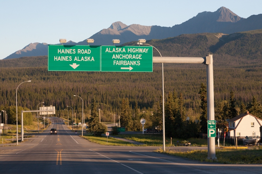 The main junction (Alaska & Haines Highways) in Haines Junction, Yukon