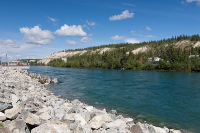 Along the shore of the Yukon River