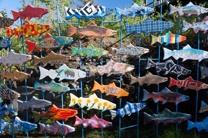 School childrens' art display pays homage to the importance of salmon