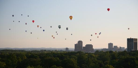 Hot air balloons paying a visit