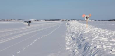 Dettah ice road on Great Slave Lake