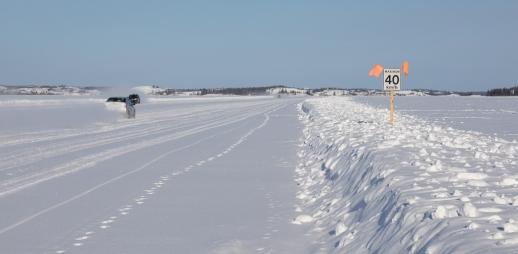 Dettah ice road on Great Slave Lake